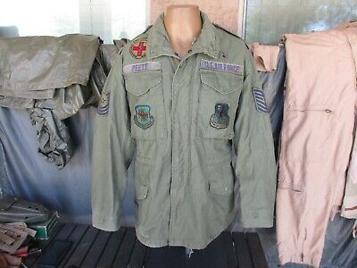 $47.78 • Buy 1984 OD M-65 Field Jacket With Lots Of Patches, SMALL REGULAR M-1965 Coat