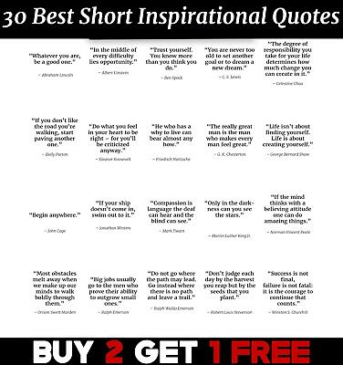 £2.99 • Buy 30 Greatest Short Inspirational Quotes Poster Art Print Wall Home Decor ED015