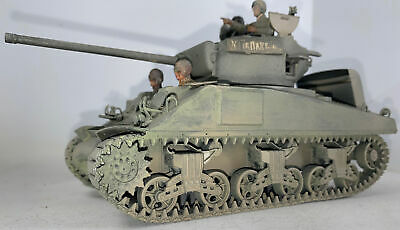 """$44.83 • Buy Sherman M4A1Tank Professionally Built 1/35 D-Day Breather Hull""""2-figs! Weathered"""