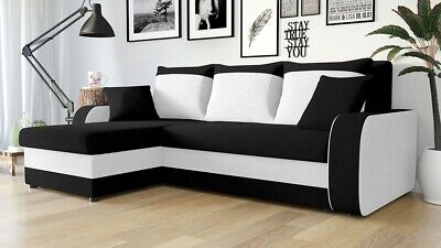 £465 • Buy Corner Sofa Bed KRIS L Offer BLACK WHITE Storage Container Universal Side New