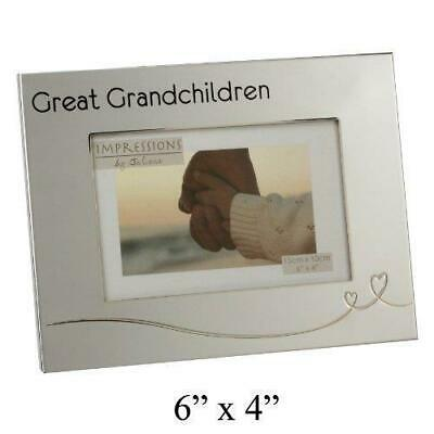£9.59 • Buy Great Grandchildren Photo Frame - Silver Plated With Heart Detail - 6 X 4 Photo