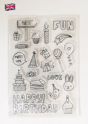 £3.50 • Buy Birthday Celebration Silicone Clear Reusable Stamps Art & Craft Scrapbook