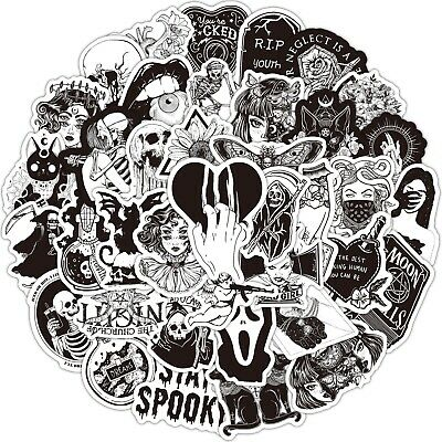 £4.99 • Buy Horror Black And White 50 Characters Gothic Sticker Bomb Laptop Vinyl Decals NEW