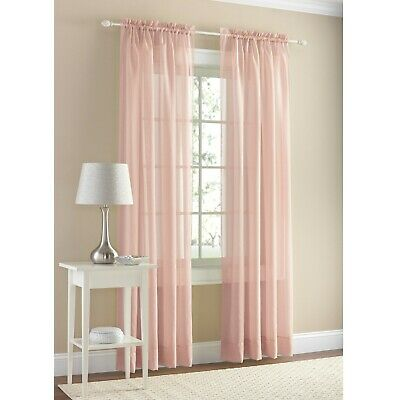$15.88 • Buy  Mainstays-Set Of 2 Marjorie Sheer Voile Curtain Panel, Blush 59in X 84 In