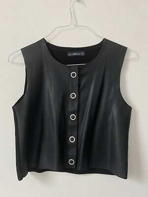 £8.50 • Buy Zara Knit Vest With Faux Leather Front Rock Chic Size Small