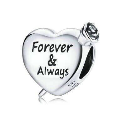 AU25.99 • Buy SOLID Sterling Silver Forever & Always Love Heart Rose Charm By Pandora's Wish
