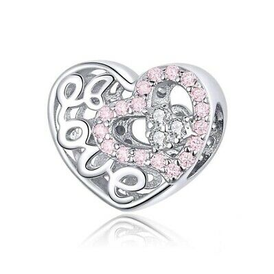 AU24.99 • Buy SOLID Sterling Silver Sparkling Pink Love Heart Charm By YOUnique Designs