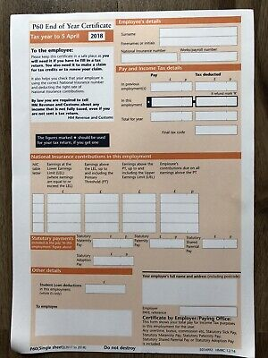 £4.99 • Buy 25x Hmrc P60 Forms For Tax Year 2017/2018