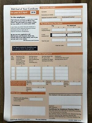 £2.50 • Buy 5x Hmrc P60 Forms For Tax Year 2017/2018