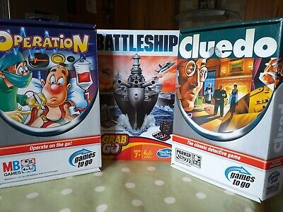 £12 • Buy Travel Games Battleship, Operation And Cluedo Parker/Hasbro/MB Games