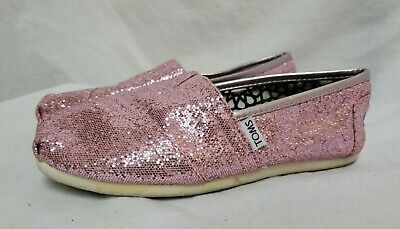 $21.77 • Buy TOMS PINK SPARKLY SEQUIN SLIP On LOAFERS FLATS CASUAL SHOES SIZE W7.5