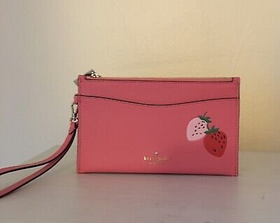 $ CDN106.85 • Buy Nwt Kate Spade Strawberry Picnic In The Park Double Zip Wristlet Wallet