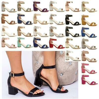 £15.99 • Buy Ladies Wedding Bridal Party Prom Evening Mid High Block Heels Sandals Shoes New