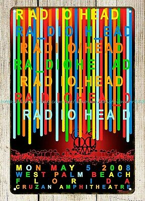 $17.95 • Buy Radiohead 2008 Concert Poster Metal Tin Sign Poster Home Accessories