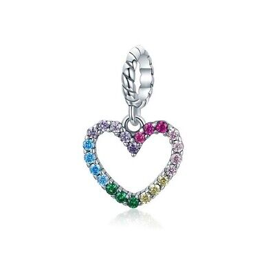 AU21.99 • Buy SOLID Sterling Silver Petite Sparkly Colourful Heart Charm By Pandora's Wish