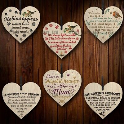 £2.99 • Buy Wooden Hanging Heart Memorial Bereavement Grave Side Tribute Miss You Love Gift