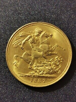 £500 • Buy 1887 Queen Victoria Gold Sovereign, London Mint 1st Issue , Off Centered.