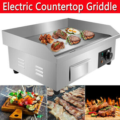£76.98 • Buy Commercial Electric Countertop Griddle Flat Top BBQ Grill Hot Plate Kitchen UK