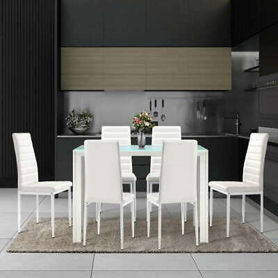 AU323.49 • Buy Artiss 7-pc Dining Table And Chairs Set Glass Tables Leather Seat Chair White