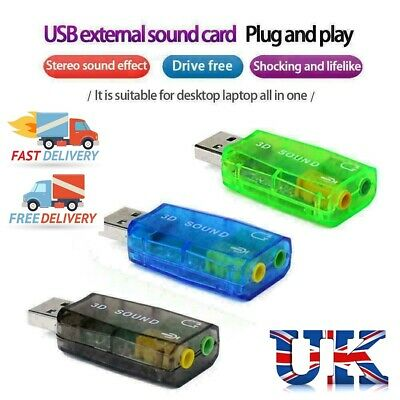 £2.99 • Buy Audio Adapter 3D Sound Card 5.1 USB To 3.5 Mm Mic Headset Headphone Jack Stereo