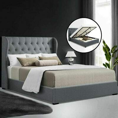 AU201.29 • Buy Artiss Bed Frame Double Size Gas Lift Base With Storage Mattress Fabric