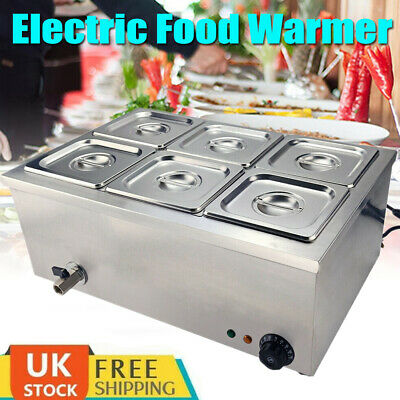 £165.98 • Buy 6 Pots Electric Commercial Bain Marie Catering Wet Well Heat Buffet Food Warmer