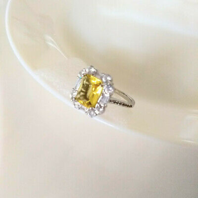 $ CDN33.99 • Buy QVC Diamonique Epiphany Platinum Clad Simulated Canary Yellow Halo Ring - Size 9