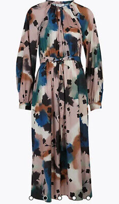 £25 • Buy Marks And Spencer Autograph Abstract Floral Midaxi  Waisted Dress Size 6 Bnwt