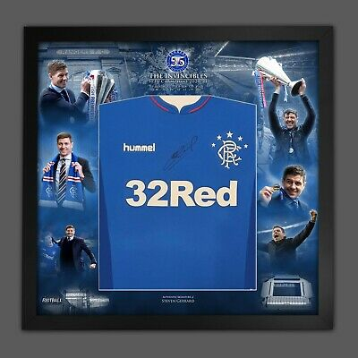 £299.99 • Buy Steven Gerrard Signed Rangers Football Shirt InA Invincibles Picture Mount Frame