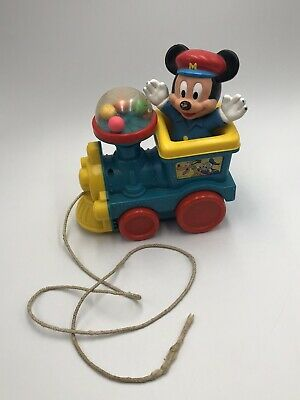 £9.50 • Buy Disney Mickey Mouse Train Pull Toy Vintage Blue Yellow Red Pop Balls Corn Popper