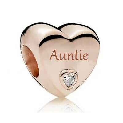 AU26.99 • Buy S925 Silver & Rose Gold Family Love - Auntie Heart Charm By YOUnique Designs