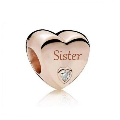 AU26.99 • Buy S925 Silver & Rose Gold Family Love - Sister Heart Charm  By YOUnique Designs