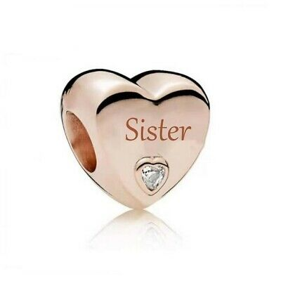 AU26.99 • Buy S925 Silver & Rose Gold Family Love - Sister Heart Charm By Pandora's Wish