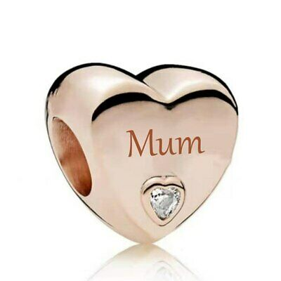 AU26.99 • Buy S925 Silver & Rose Gold Family Love - Mum Heart Charm By Pandora's Wish