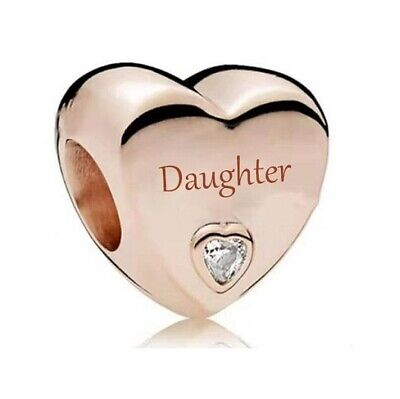 AU26.99 • Buy S925 Silver & Rose Gold Family Love - Daughter Heart Charm By Pandora's Wish