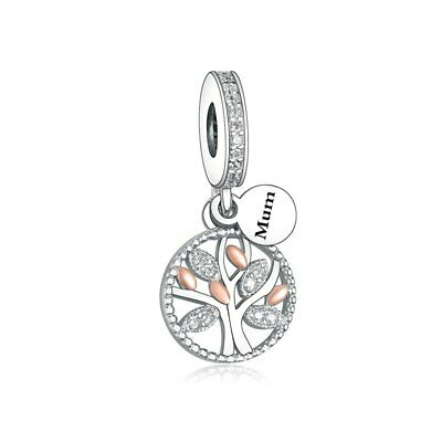 AU26.99 • Buy S925 Silver & Rose Gold Family Heritage Tree MUM Mother Charm -YOUnique Designs