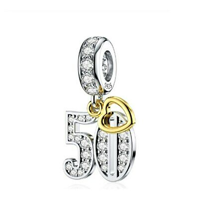 AU25.99 • Buy S925 Silver & Gold Pl Hanging 50th Milestone Birthday Charm By YOUnique Designs