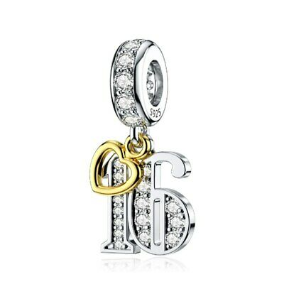 AU25.99 • Buy S925 Silver & Gold Pl Hanging 16th Milestone Birthday Charm By YOUnique Designs