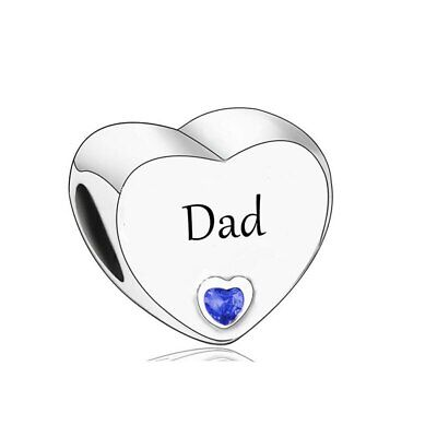 AU25.99 • Buy SOLID Sterling Silver Dad Heart Father Charm By YOUnique Designs