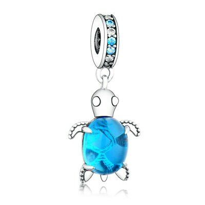AU24.99 • Buy SOLID Sterling Silver Hanging Blue Glass Sea Turtle Charm By Pandora's Wish