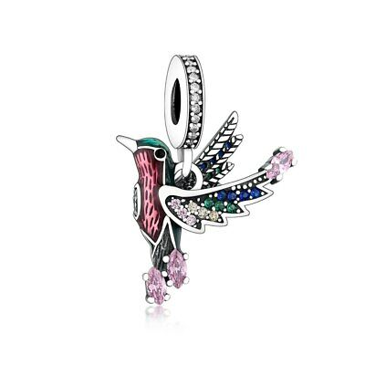 AU28.99 • Buy SOLID Sterling Silver Large Colourful  Hummingbird Bird Charm -YOUnique Designs