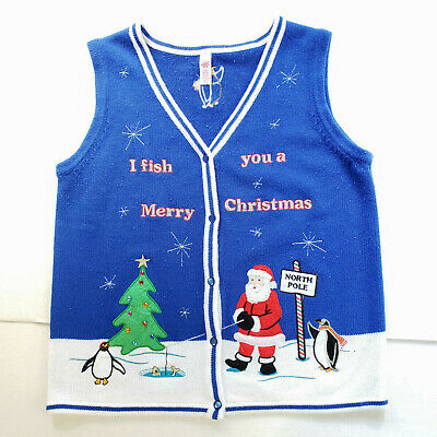 $15.96 • Buy Christmas Sweater Vest Mens Large I Fish You A Merry Christmas Knit Button Up
