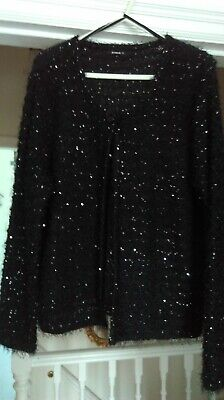£6 • Buy ROMAN Black Eyelash Cardigan With Sequins And Single Button Fastening Size 20