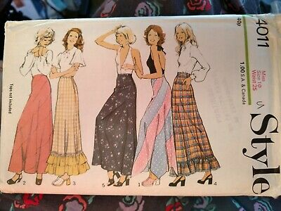 £6 • Buy Style 4011 Vintage 1970s Ladies Maxi Skirt Sewing Pattern Size 10