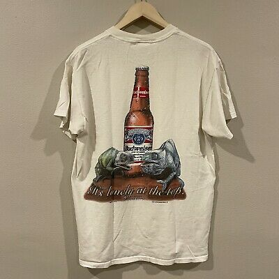 $ CDN62.20 • Buy Vintage Budweiser This Bud's For You Swamp Beer Gator Frog T-Shirt Adult Size XL