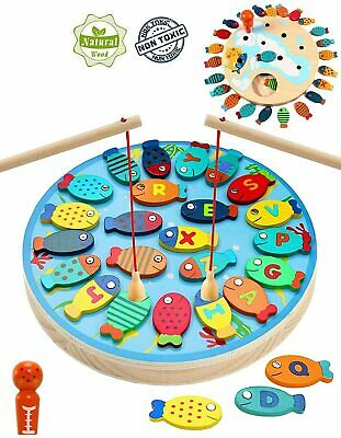 £11.99 • Buy Magnetic Fishing Game Wooden Catch And Count Fun Play Alphabet Fishing Toy