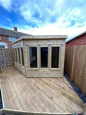 £2390 • Buy Garden Shed Corner Summer House Tanalised Ultimate Heavy Duty 10x8 22mm T&g. 3x2