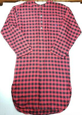 $29.99 • Buy Polo Ralph Lauren Mens Long Sleeve Flannel Nightshirt Gown Plaid Red Size L