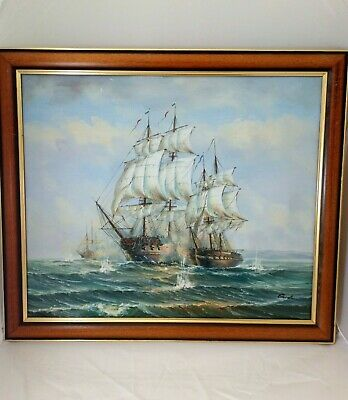 £35 • Buy Large Framed Oil On Canvas Painting, Battling Ships At Sea, Signed By Gordon