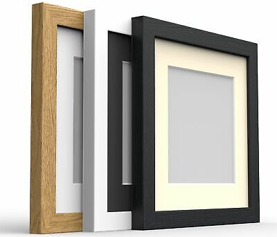 £6.55 • Buy Square Box Photo Picture Frame With Mount Wood Effect Black White Oak Silver
